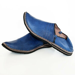 Orientalische Spitzschuhe Ledershuhe Marokko Echt Leder Pantoffel Aladin Blau