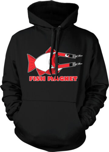 Fish Magnet Fishing Fisherman Auger Sport Boat Funny Hoodie Pullover