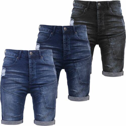 Homme CROSSHATCH Denim Short Chino Coupe Slim Effet Vieilli Déchiré la moitié Jeans Pantalon