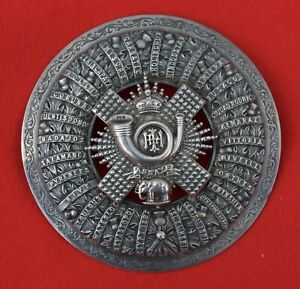 British-Army-Highland-Light-Infantry-Officer-s-Victorian-Silver-Plaid-Brooch