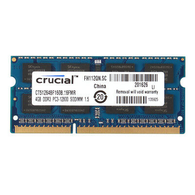 Crucial Laptop 16G 4X 4GB 2RX8 PC3L-12800S DDR3 1600Mhz 204Pin SODIMM Memory #1