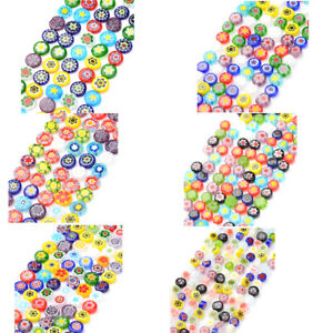 16-034-Strd-Colorful-Handmade-Lampwork-Glass-Beads-Millefiori-Flower-Beading-Craft