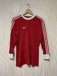 Ambigüedad compromiso blusa  Adidas 80s Camiseta De Fútbol Fútbol Jersey Vintage Manga Larga Talla M Red  | eBay