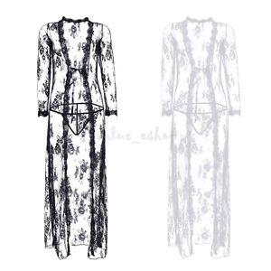 Image is loading Women-Vintage-Lace-Robe-Sleepwear-Nightgown-Long-Dress- f245d348b