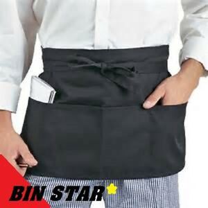 546facb9788 3 new black waiter waitress chefs kitchen 3 pocket waist aprons bin ...