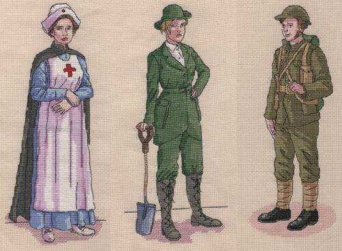 soldado y Land Girl WW1 Tabla De Punto De Cruz Pack incluye enfermera