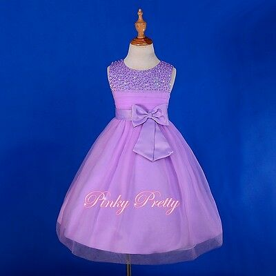 Beaded Satin Tulle Formal Dress Flower Girl Bridesmaid Party Size18m-8y FG257