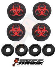 4 Black Custom License Plate Frame Tag Screw Cap Covers - RED BIO HAZARD HL7