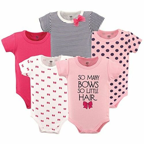 Hudson Baby 5 Pack Baby Girls Pink So Many Bows Hanging Bodysuits 100/% Cotton
