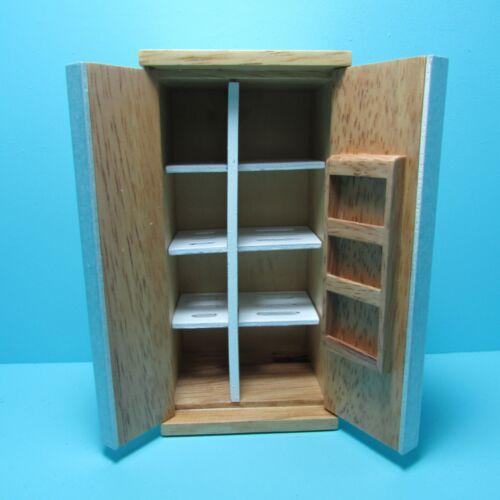 Dollhouse Miniature Kitchen Modern Slatted Oak Side by Side Refrigerator ~ T4129