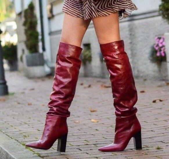 alta qualità genuina ZARA AW16 AW16 AW16 LEATHER HIGH HEEL stivali WITH WIDE LEG BURGUNDY 5007 101 US 7 EU 40  al prezzo più basso