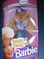1991 Mattel Blonde Barbie Doll Teen Talk Press Button & She Talks -