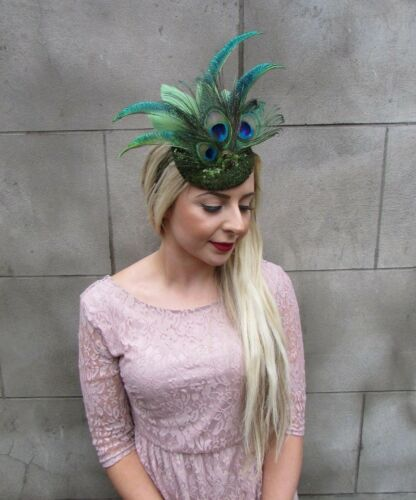 Olive Khaki Green Sequin Peacock Statement Feather Fascinator Races Hat 5001
