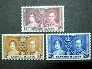 1937 Leeward Islands King George VI Coronation Complete Set Variety Colour Print