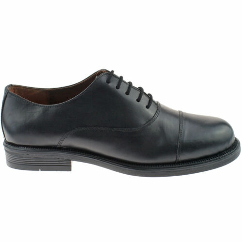 MENS OXFORD CADET PARADE CAPPED LEATHER SHOES ARMY UNIFORM BOOTS BLACK UK SIZES