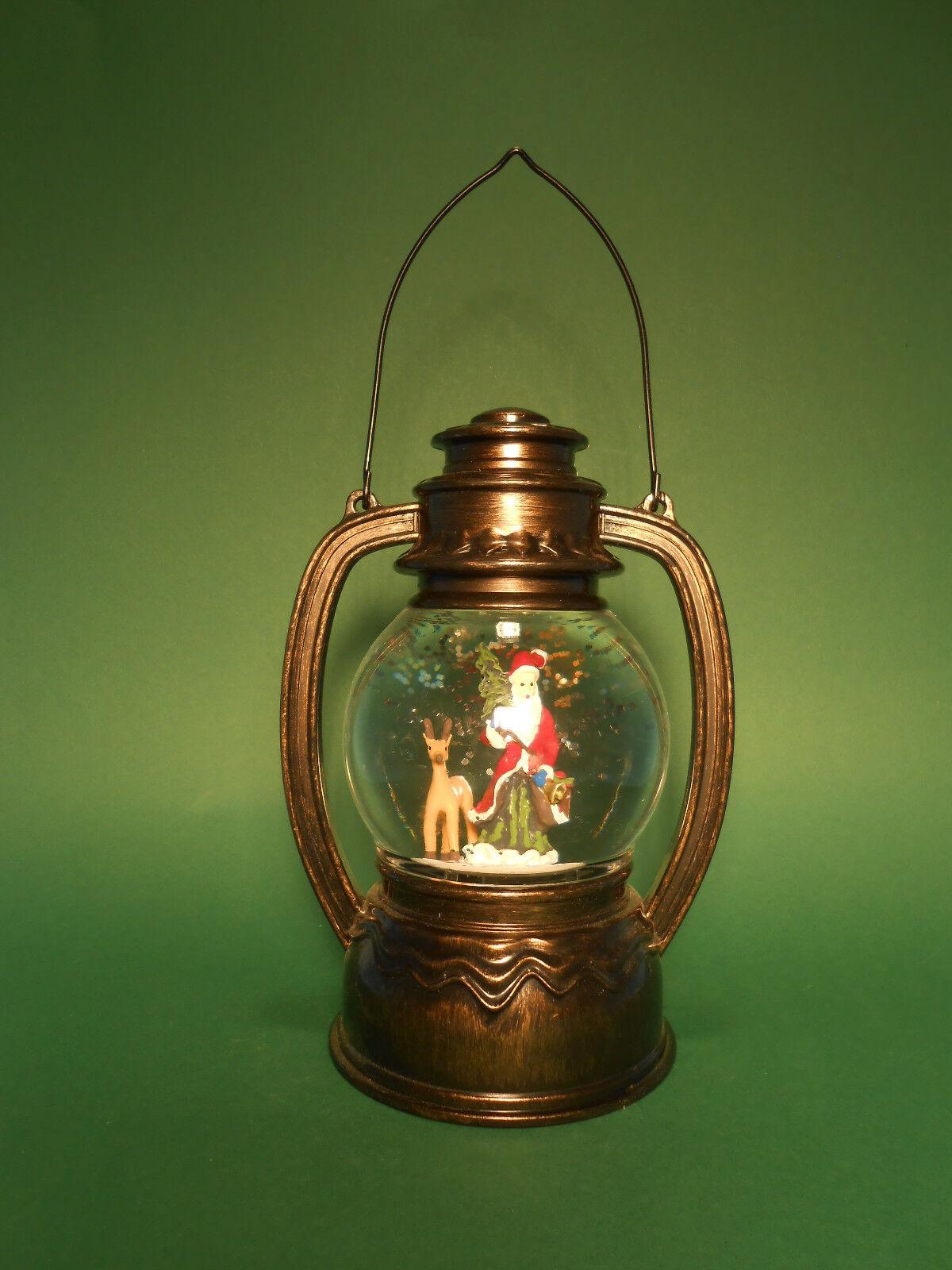 LED Laterne Schneekugel mit Licht und Glitterwirbel oder Spieldose 20cm groß neu