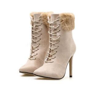 Das Bild wird geladen Winter-Stiefel-Damen-Ankle-Boots-High-Heels-Kunst- 0ddb50beb9