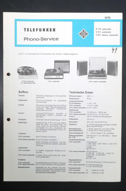 Telefunken S 110  V511 Automatic  V 511 Stereo Phono