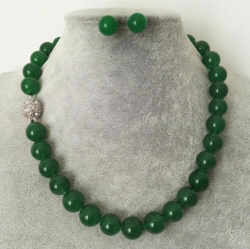 collier argent Boucle d/'oreille Set Fashion 10 mm Vert naturel jade perles rondes