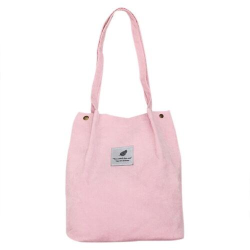Women Casual Durable Canvas Large Capacity Handbag Corduroy Tote Shoulder Bag EW