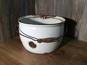 Antique-White-Enamel-Large-Pot-Cauldron-Stock-Pot-Planter-Or-Decor-F6