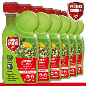 Protect Garden 6 x 400 ml Loredo Quattro Universal-Rasenunkrautfrei Weißklee
