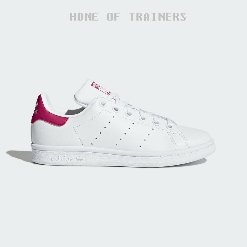 adidas Stan Smith GS White Bold Pink Kids Boys Girls Trainers All Sizes B32703