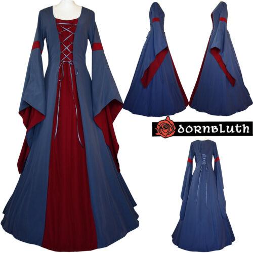 Mittelalter Karneval Gothic Gewand Kleid Kostüm Johanna Indigo-Bordeaux XS-60
