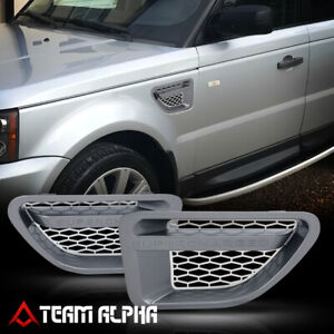 Fits-2006-2009-Range-Rover-Sport-lt-Mesh-034-SUPERCHARGED-034-gt-Grey-Silver-Fender-Grills