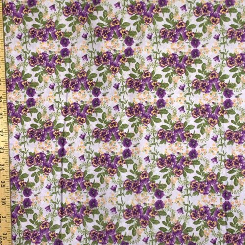 Fabric Cotton 100/% Floral Small Purple Pansy Quilting Masks Sell by 1//2 Yard B1