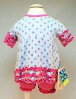 Kickee Pants 0/3 Month Outfit Pink And Blue Ruffle Dress & Bloomers With Tag