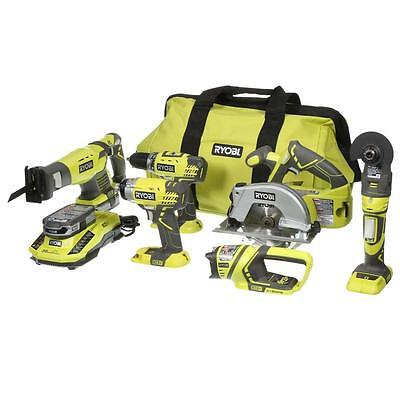 Ryobi 18-Volt Lithium-Ion Ultimate Combo Kit (6-Tool) Green Reciprocating Saw