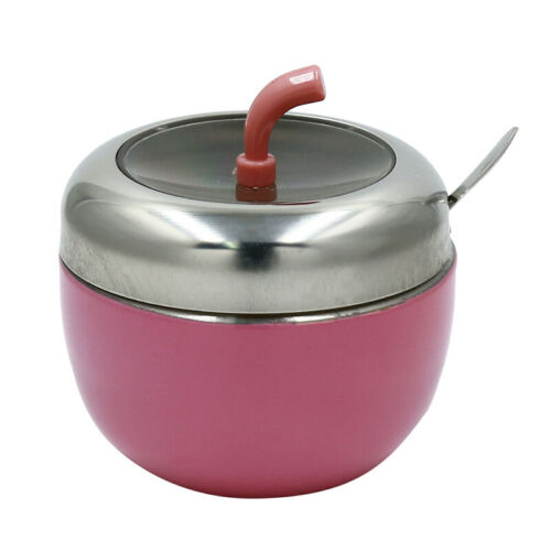 Sugar Salt Bowl Stainless Steel Round Seasoning Pot Lid Spoon Kitchen Tools CB