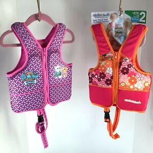 "2 Swim School Trainer Vest 20-33 Lb 20"" Chest Level 2 Girls Pink Vests Both New!"