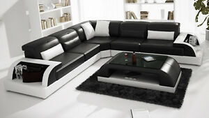 Details about Modern Large LEATHER SOFA Corner Suite NEW RRP £5999 Black  Modular