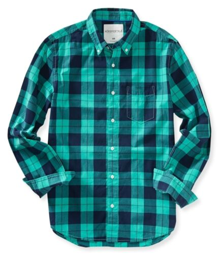 Aeropostale Mens Long Sleeve Plaid Button Down Woven Shirt   XS,S,M,L,XL,2XL,3XL