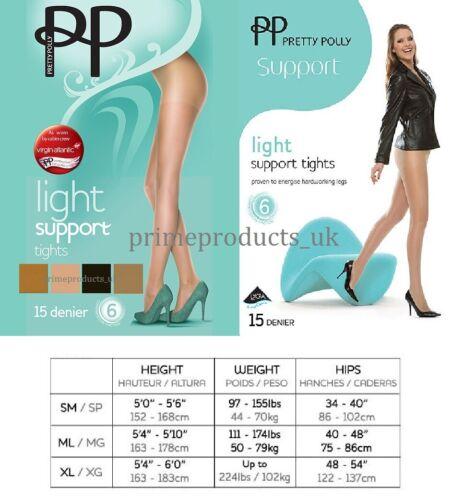 Femme 15 deniers facteur 6 soutien léger Collants par Pretty Polly Nude B BLK