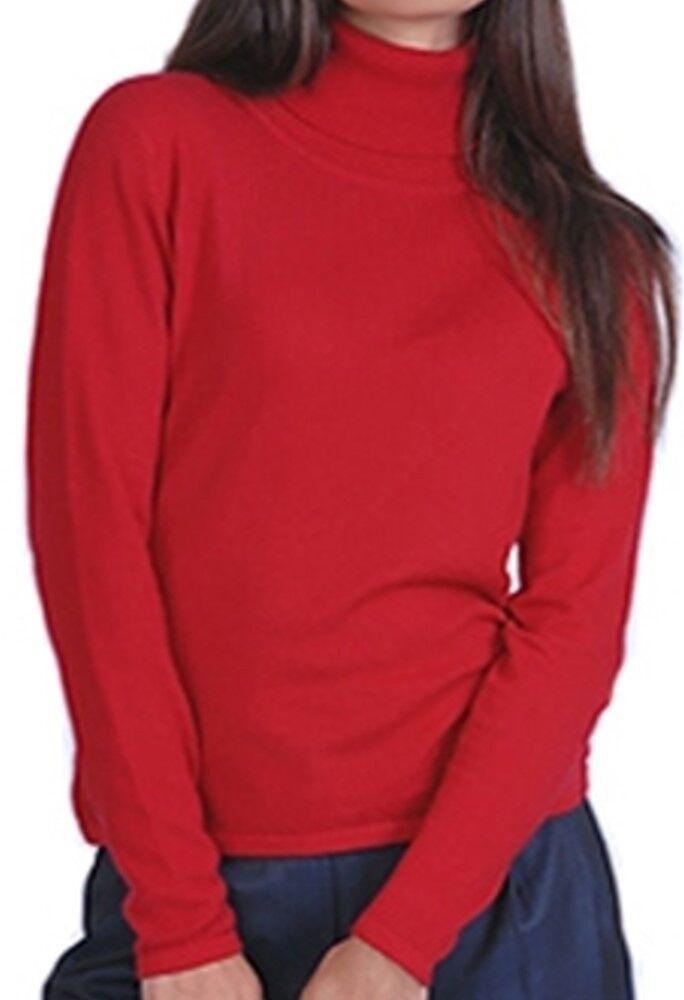 Balldiri 100% Cashmere Damen Pullover Rollkragen ohne Bündchen  samtrot XL