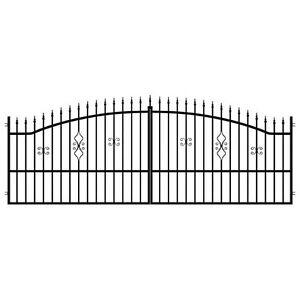 Stillvolles-Einfahrtstor-Gartenpforte-3-Pfosten-CLASSIC-schwarz-3-m-3-5-m-4-m