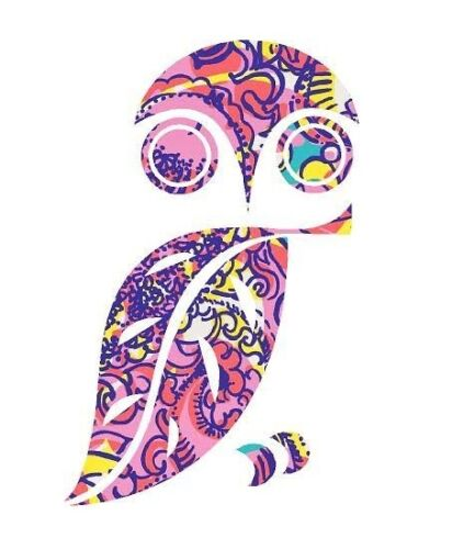 Owl in Lilly P Pink Design Printed Decal Window//Car//Truck//Sticker **NEW ITEM**