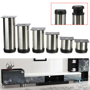 image is loading 4pcs cabinet legs adjustable stainless steel kitchen feet  4pcs cabinet legs adjustable stainless steel kitchen feet round      rh   ebay com