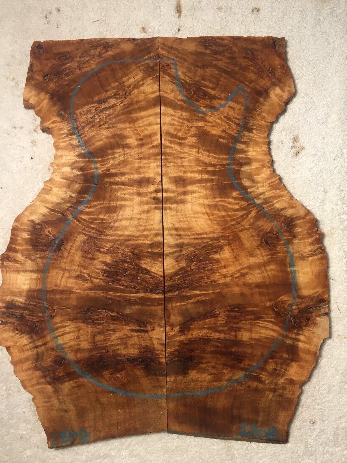 Poplar Burl book match set luthier guitar tone wood .42 x 12-17 x 20