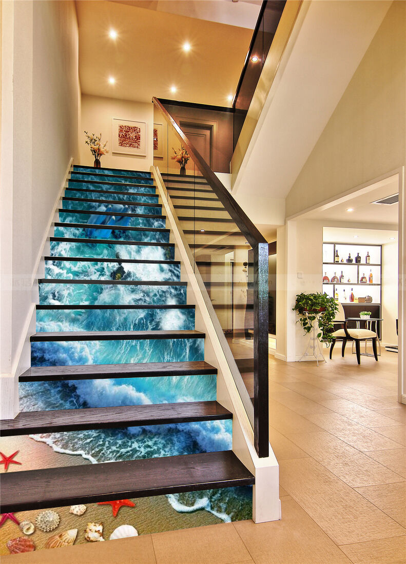 3D beach Waves tropical Risers Decoration Photo Mural Vinyl Decal Wallpaper CA