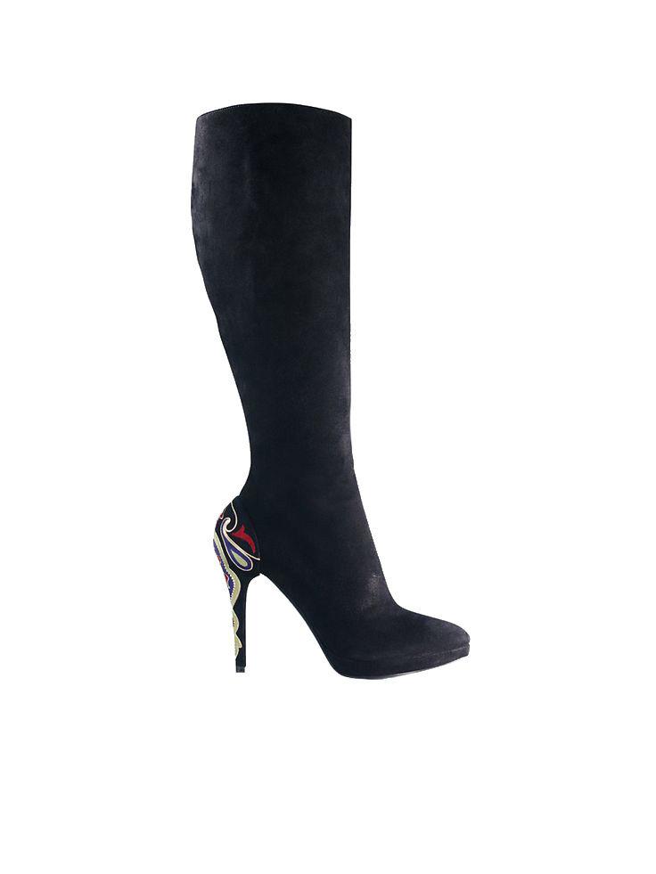 Ralph Lauren Purple Label Black Courlie Suede Chain Boots New  1100