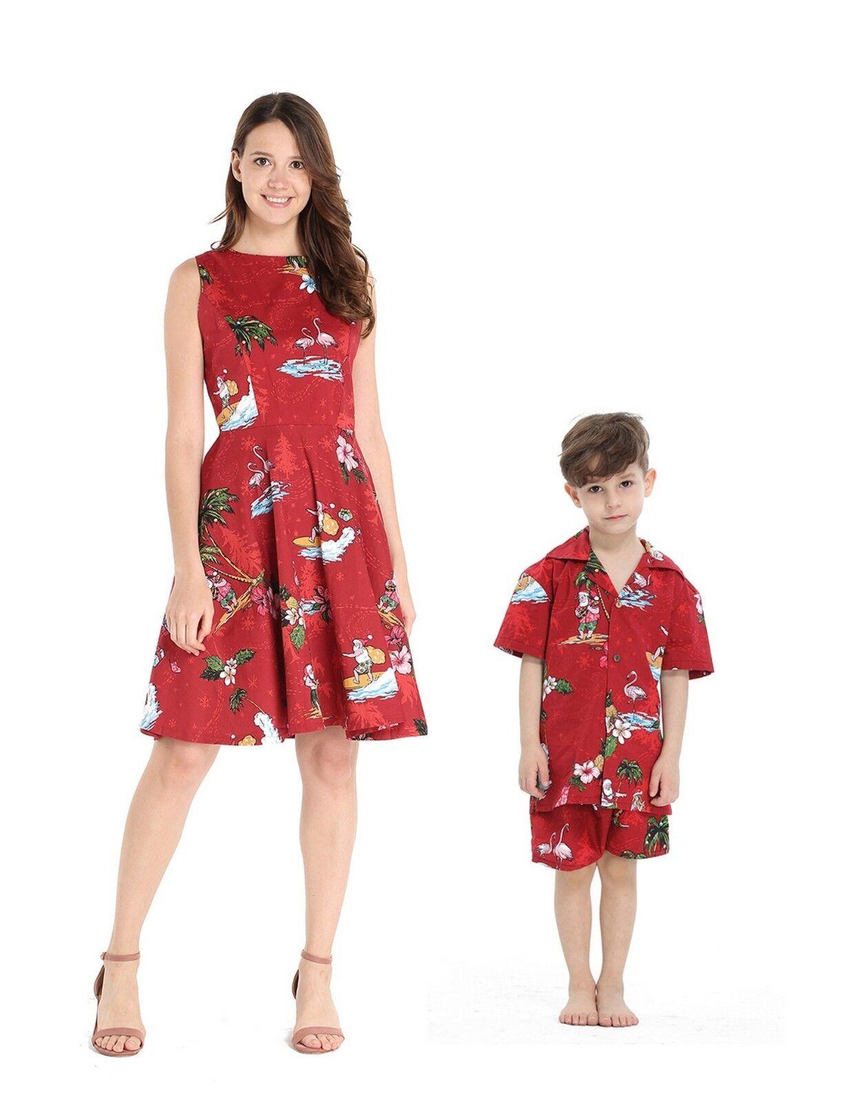 Hawaii Hangover Mother Son Outfit Vintage Dress Shirt Shorts Christmas Santa Red