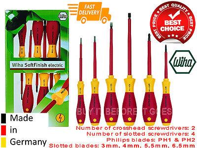 Wiha 6 Piece Vde 1000 Volt Ac Insulated Electricians Screwdriver Set Kit Tools