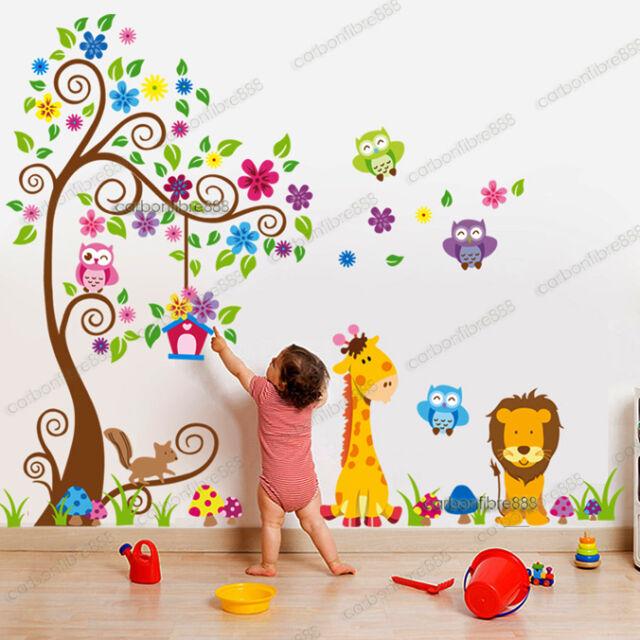 Giant Scroll Flower Tree Owls Wall Stickers Art Decal Paper Animal Nursery Decor