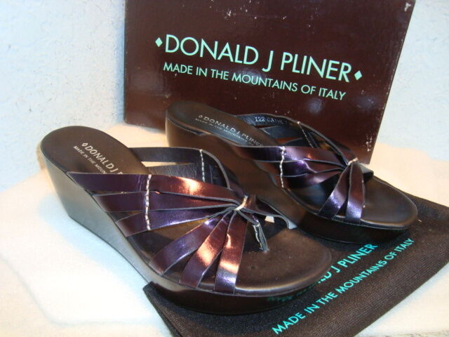 Donald J Pliner Womens NWB Cathe122 Metallic Purple Sandals Shoes 7.5 M NEW
