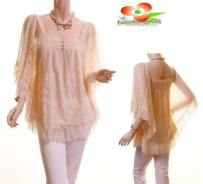 Women Renaissance Victorian Ruffle Laced Vintage Chiffon Blouse Sheer Shirt Top