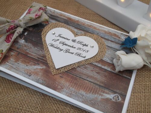 Personalised VINTAGE WOOD DESIGN Wedding Guest Book A5 Shabby Chic BOXED